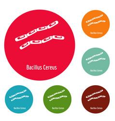 Bacillus cereus icons circle set vector