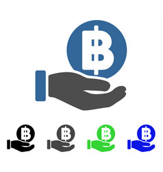 Baht coin payment hand flat icon vector