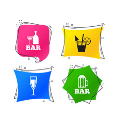 bar or pub icons glass of beer and champagne vector image
