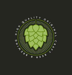 beer hop vintage logo on dark background vector image