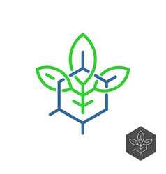 Biochemical industry logo plant leaves with vector