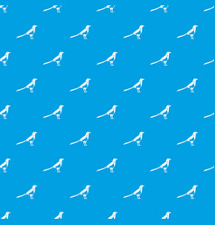Bird magpie pattern seamless blue vector