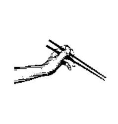 black 8-bit hand holding chopsticks vector image