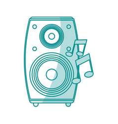 Blue shading silhouette of loudspeaker in wood box vector