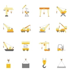 Building construction crane flat icons set vector image