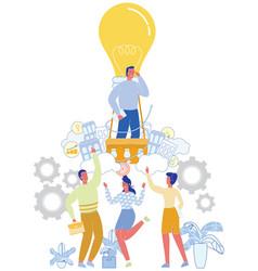 businessman in lamp bulb balloon startup ideas vector image