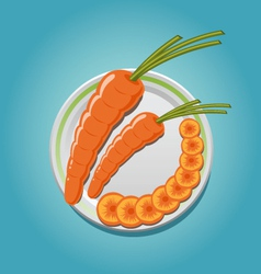 carrots on a plate with slices vector image