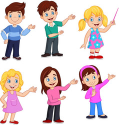 cartoon kids with different posing vector image