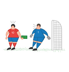 cartoon soccer player man offering bribe to vector image