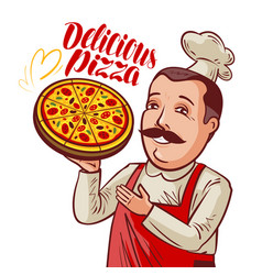 Chef with pizza in hand pizzeria fast food vector