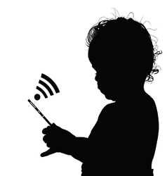 child with mobile phone vector image
