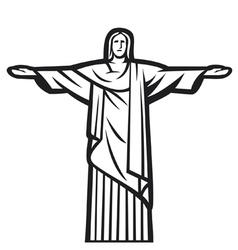Christ redeemer statue vector