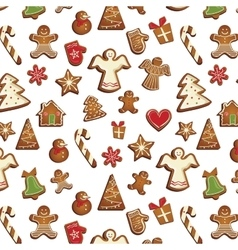 christmas gingerbread pattern vector image
