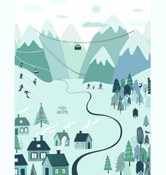 Christmas holiday greeting card with rural scene vector