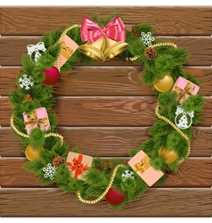 Christmas Wreath on Wooden Board 8 vector image