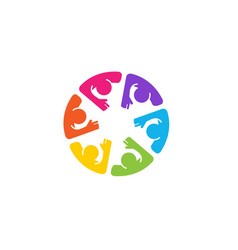 Colorful abstract people circle voting logo vector