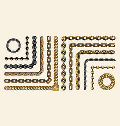 colorful collection chain pattern brushes vector image