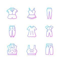 Comfortable homewear gradient linear icons set vector