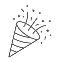 Confetti popper thin line icon party vector