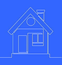 continuous line drawing house building concept vector image