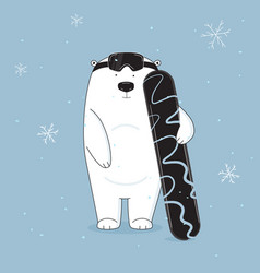 cool and cute bear on snowboard vector image