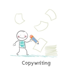 copywriter writes on paper vector image