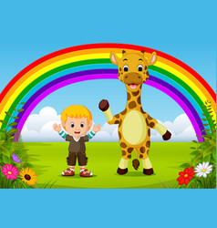 Cute boy and giraffe at park with rainbow scene vector
