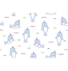 cute manatees unicorns in waves seamless pattern vector image
