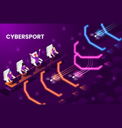 Cyber game isometric background vector