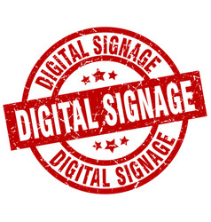 Digital signage round red grunge stamp vector