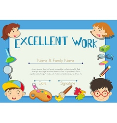 Diploma template with children in background vector