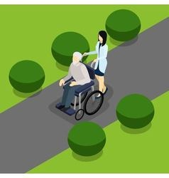 Disabled Retired People Life Isometric Banner vector