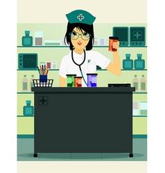 Doctor holding prescription bottle vector image vector image