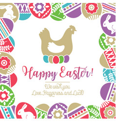 easter card with frame of color easter eggs vector image