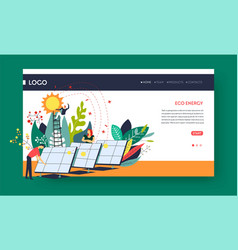 eco energy solar batteries web pages templates vector image