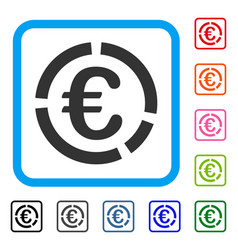 Euro financial diagram framed icon vector
