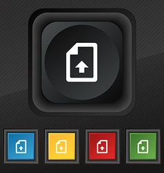 Export upload file icon symbol set of five vector