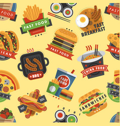 fast food restaurant product seamless pattern vector image