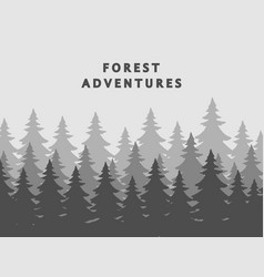 fir forest silhouettes background in mist vector image