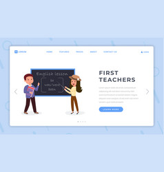 first teachers landing page flat template english vector image