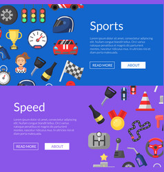 flat car racing icons web banner vector image