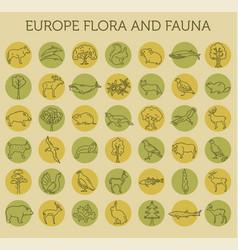 Flat european flora and fauna elements animals vector