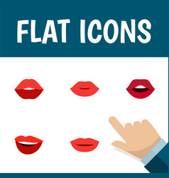 flat icon mouth set of laugh teeth lips and vector image