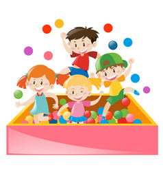 Four kids playing in ball box vector