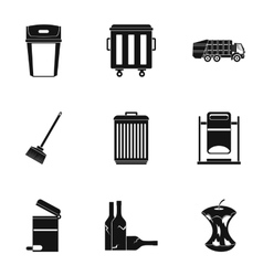 Garbage icons set simple style vector image