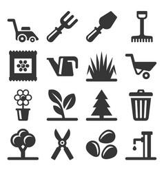 gardening icons set on white background vector image