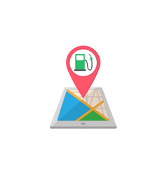 gas station map pointer flat icon mobile gps vector image