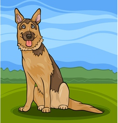 german shepherd dog cartoon vector image