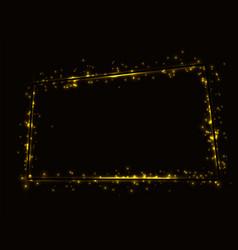 Golden shiny frame on a black background framed vector