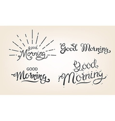 good morning lettering set vector image